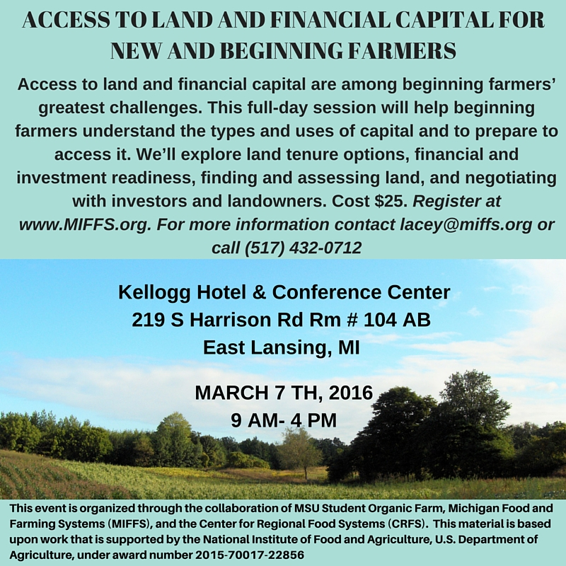 Access To Land And Financial Capital Workshop In Michigan