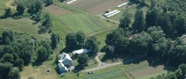 aerial view sustainable farm